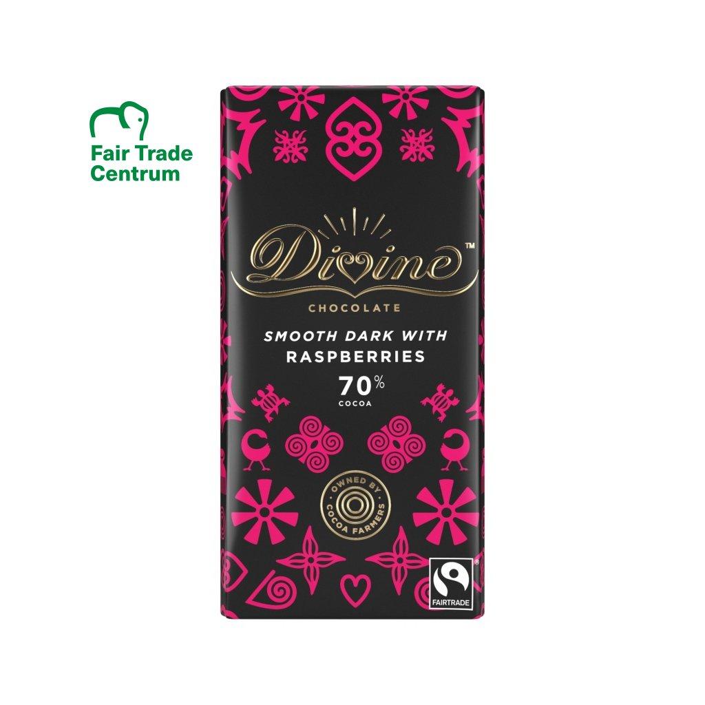 Fairtrade hořká čokoláda s malinami