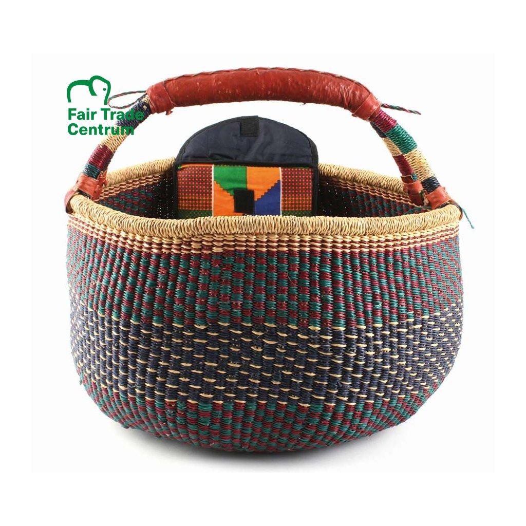 Fair trade koš bolga s kapsou z Ghany, modrý