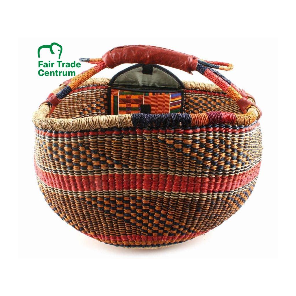 Fair trade koš bolga s kapsou z Ghany, červený