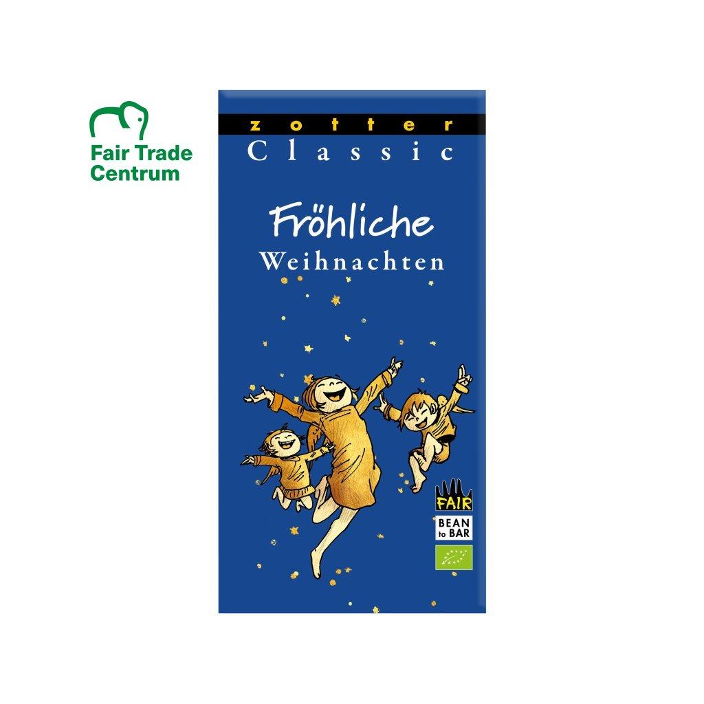 Fair trade klasická bio mandlová čokoláda Zotter Veselé Vánoce