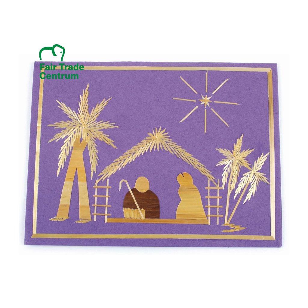 Fair Trade vánoční přání ze slámy Betlém
