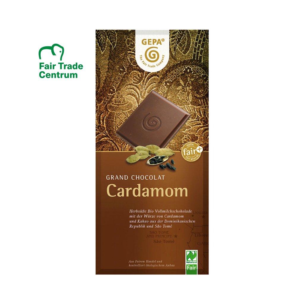 Fair Trade bio mléčná čokoláda s kardamomem, 100 g