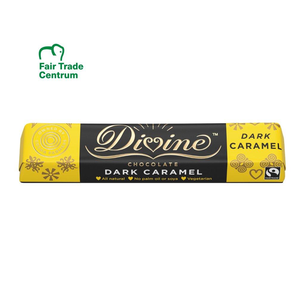 Fairtrade hořká čokoládová tyčinka Divine s karamelem, 35 g