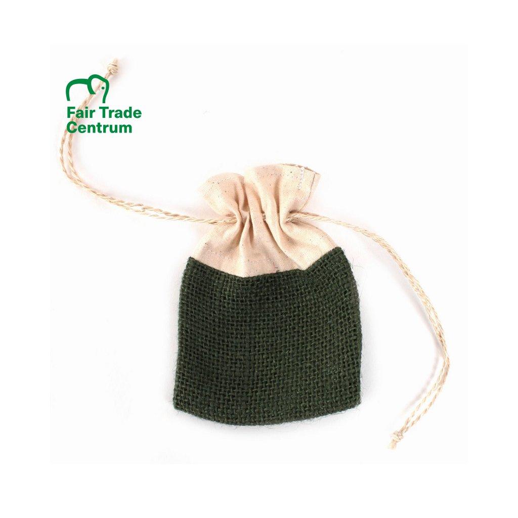 Zelený Fair Trade ručně šitý jutový sáček se šňůrkou