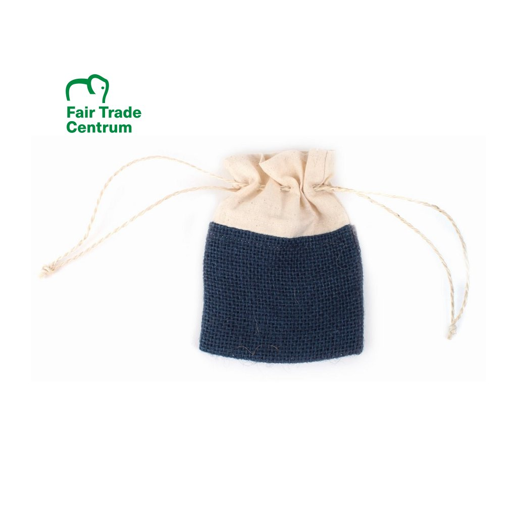 Modrý Fair Trade ručně šitý jutový sáček se šňůrkou
