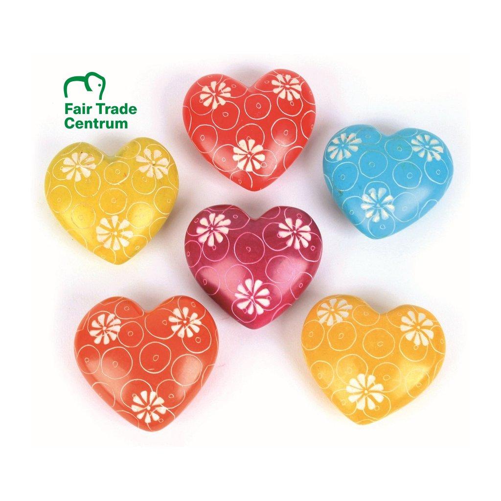 Fair Trade srdíčko s květy z mastku z Keni