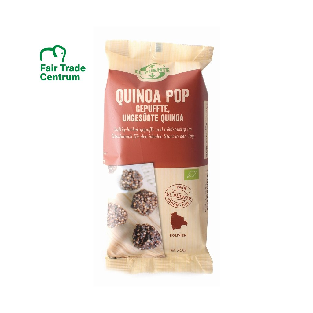 Fair Trade bio quinoa pop z Bolívie, 70 g