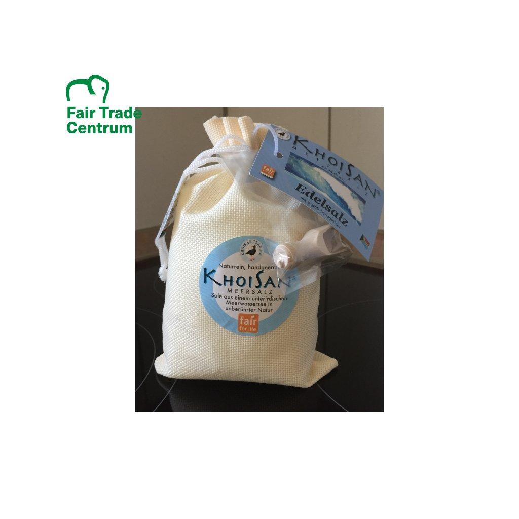 Fair Trade mořská sůl KhoiSan Deluxe v jutovém sáčku z JAR