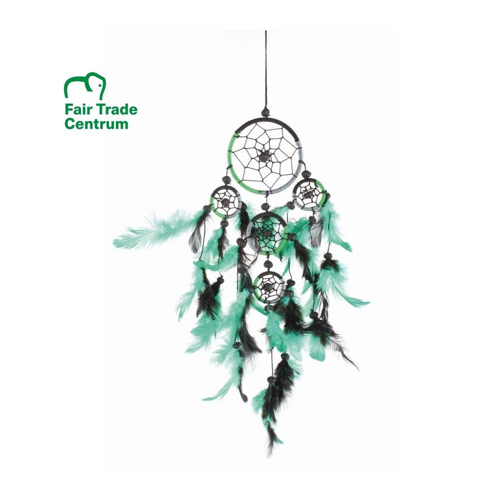 Fair Trade lapač snů z Bali, zelený, 40 cm