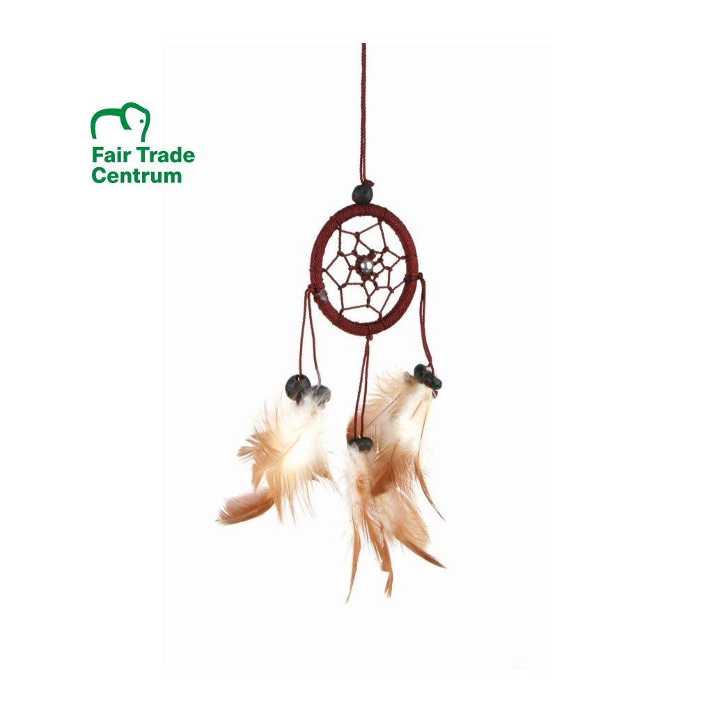 Fair Trade lapač snů z Bali, hnědý, 17 cm