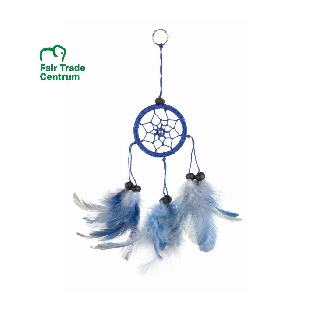 Fair Trade lapač snů z Bali, modrý, 17 cm