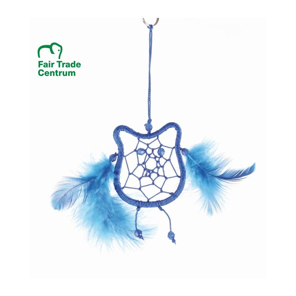 Fair Trade lapač snů Sova z Bali, modrá, 17,5 cm