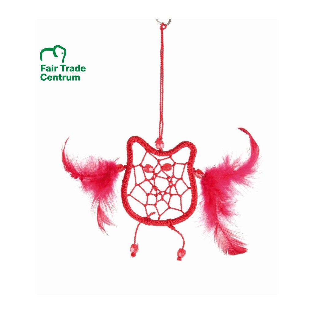 Fair Trade lapač snů Sova z Bali, červená, 17,5 cm