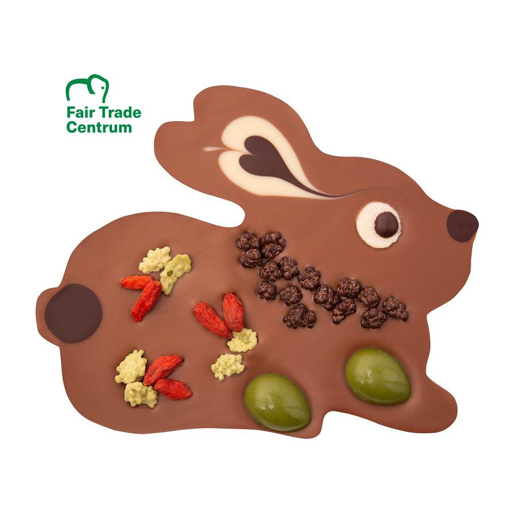 Fair Trade Bio velikonoční zajíček z rýžové čokolády s lískooříškovým nugátem