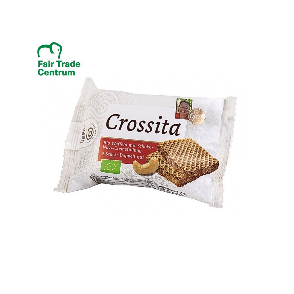 Fair Trade bio wafle s čokoládovou náplní s kešu ořechy, 2 ks