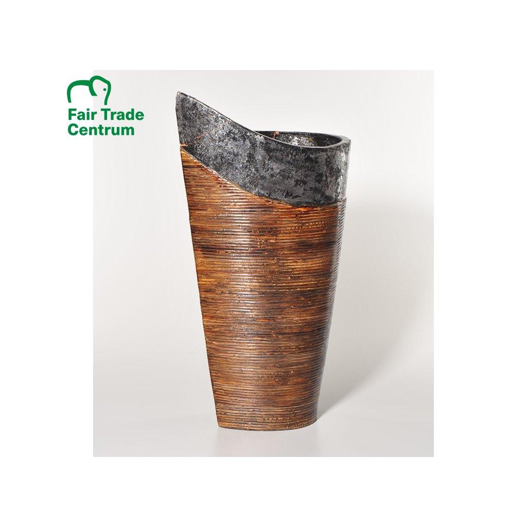 Fair Trade terakotová váza s ratanem, 56 cm