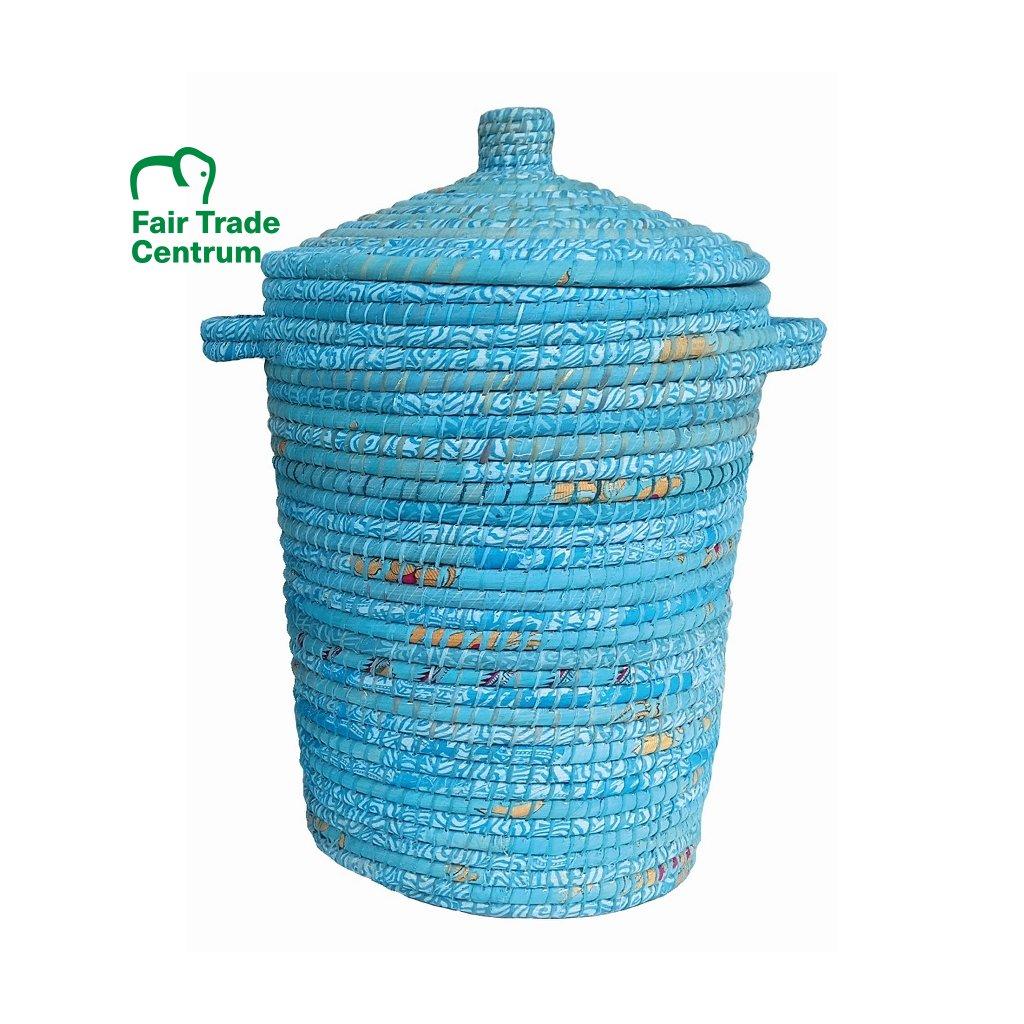 Fair Trade koš na prádlo ze sárí z Bangladéše, modrý