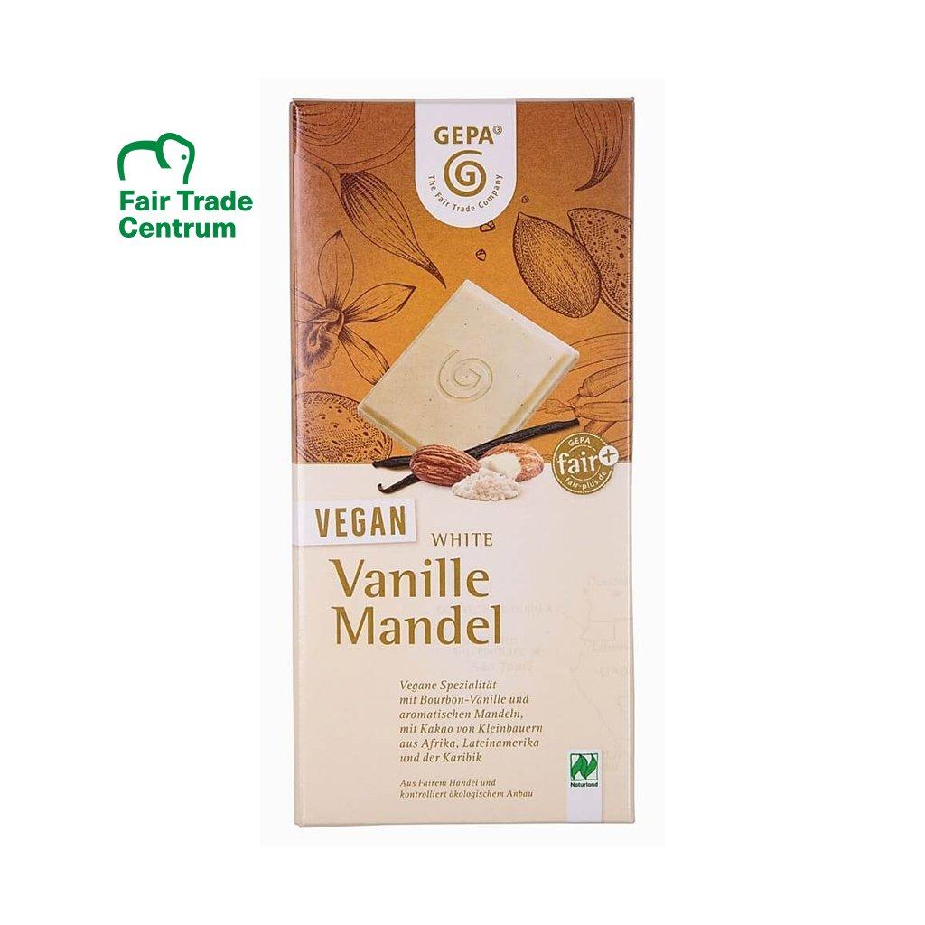 Fair trade bio veganská bílá čokoláda s vanilkou a mandlemi
