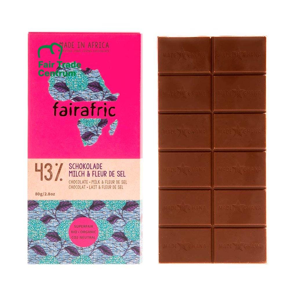 Fair trade mléčná čokoláda s Fleur de Sel, vyrobená fairafric v Ghaně