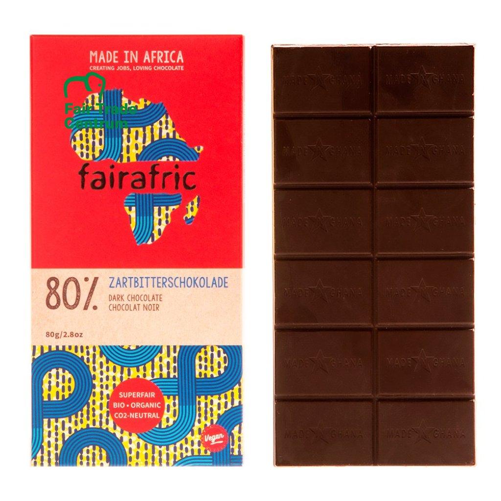 Fair trade hořká čokoláda s 80 % kakaa, vyrobená fairafric v Ghaně
