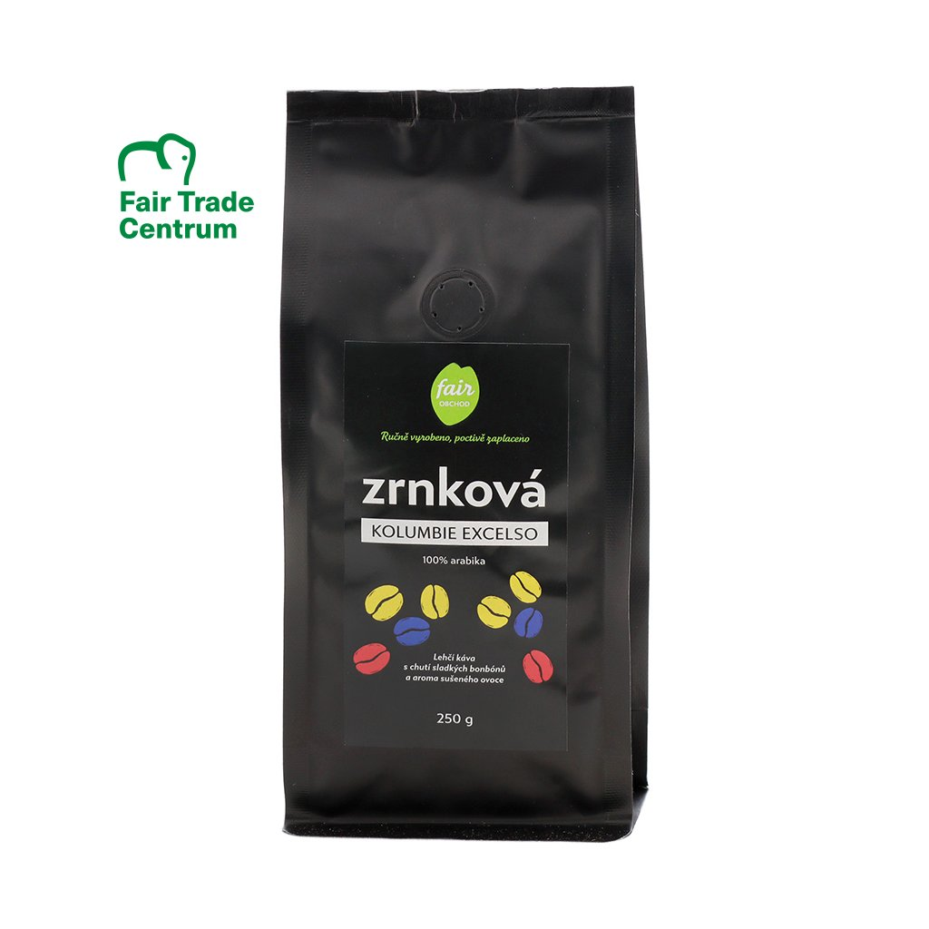 Fair trade zrnková káva Kolumbie Excelso arabica, 250 g