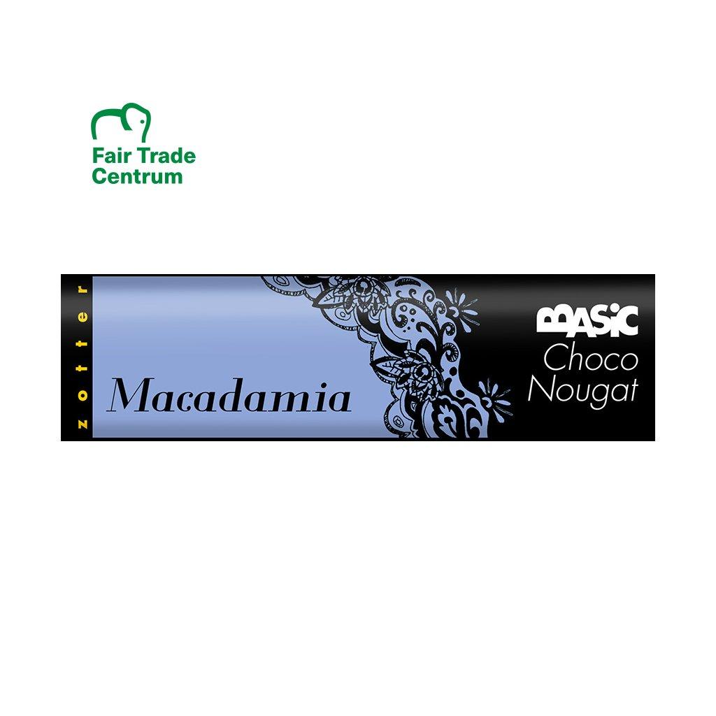 Fairtrade bio čokoládový nugát Zotter s makadamovými oříšky, 130 g