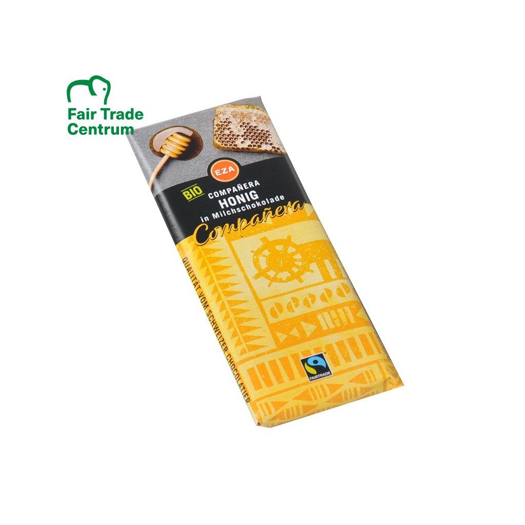 Fairtrade bio mléčná čokoládka s medem, 50g
