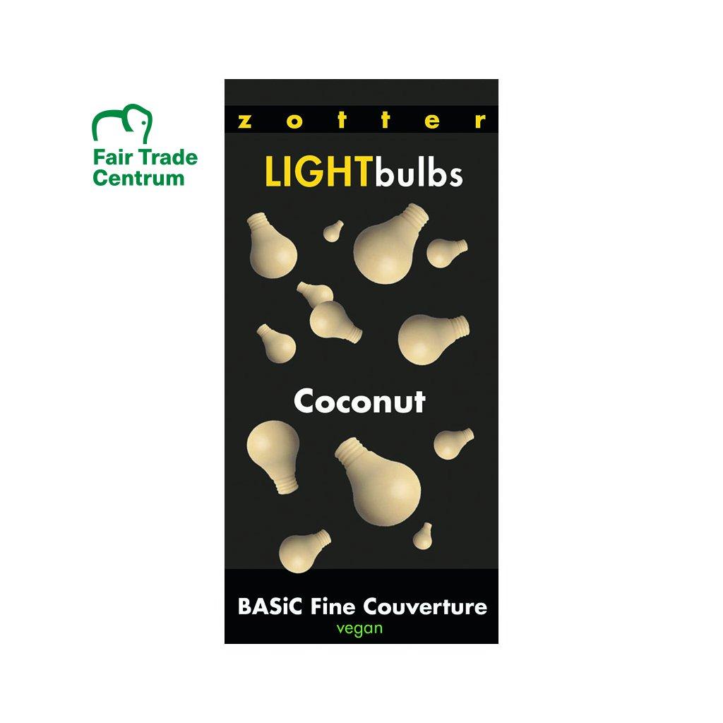 Fairtrade bio vegan couverture čokoláda kokosová bílá v žárovkách, 1300 g