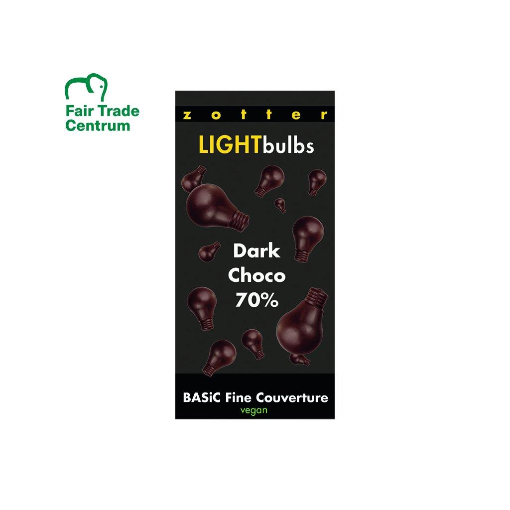 Fairtrade bio vegan couverture čokoláda 70 % kakaa v žárovkách