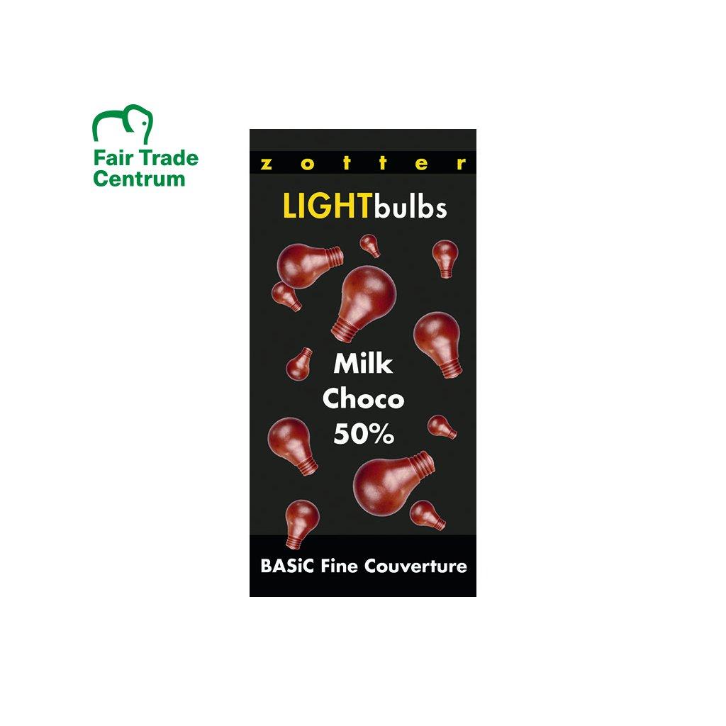 Fairtrade bio mléčná couverture čokoláda 50 % kakaa v žárovkách