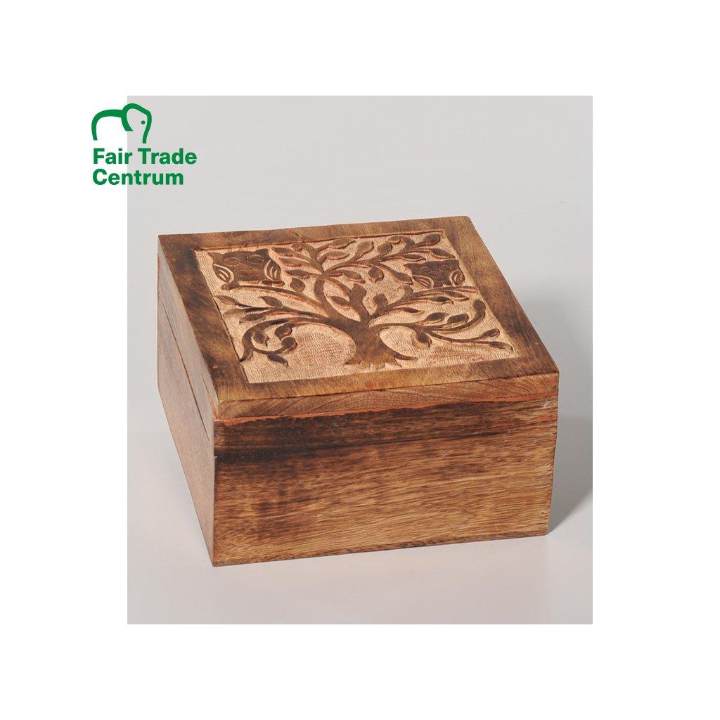 Fair trade krabička z mangového dřeva s reliéfem z Indie