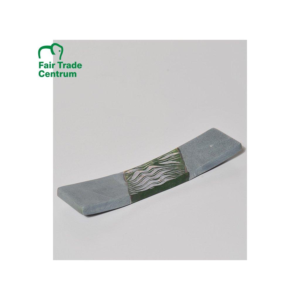 Fair trade stojánek na vonné tyčinky z mastku z Indie, zelený