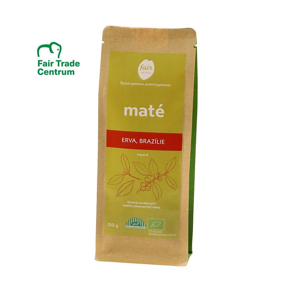 Fair trade erva yerba bio maté sypané z Brazílie, 100 g
