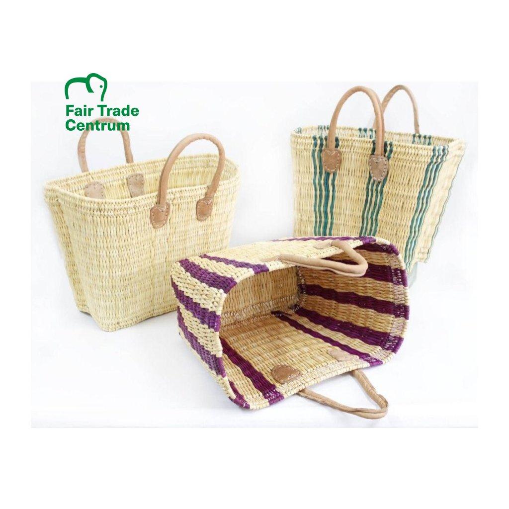 Fair trade proutěná kónická taška Zebra z Maroka