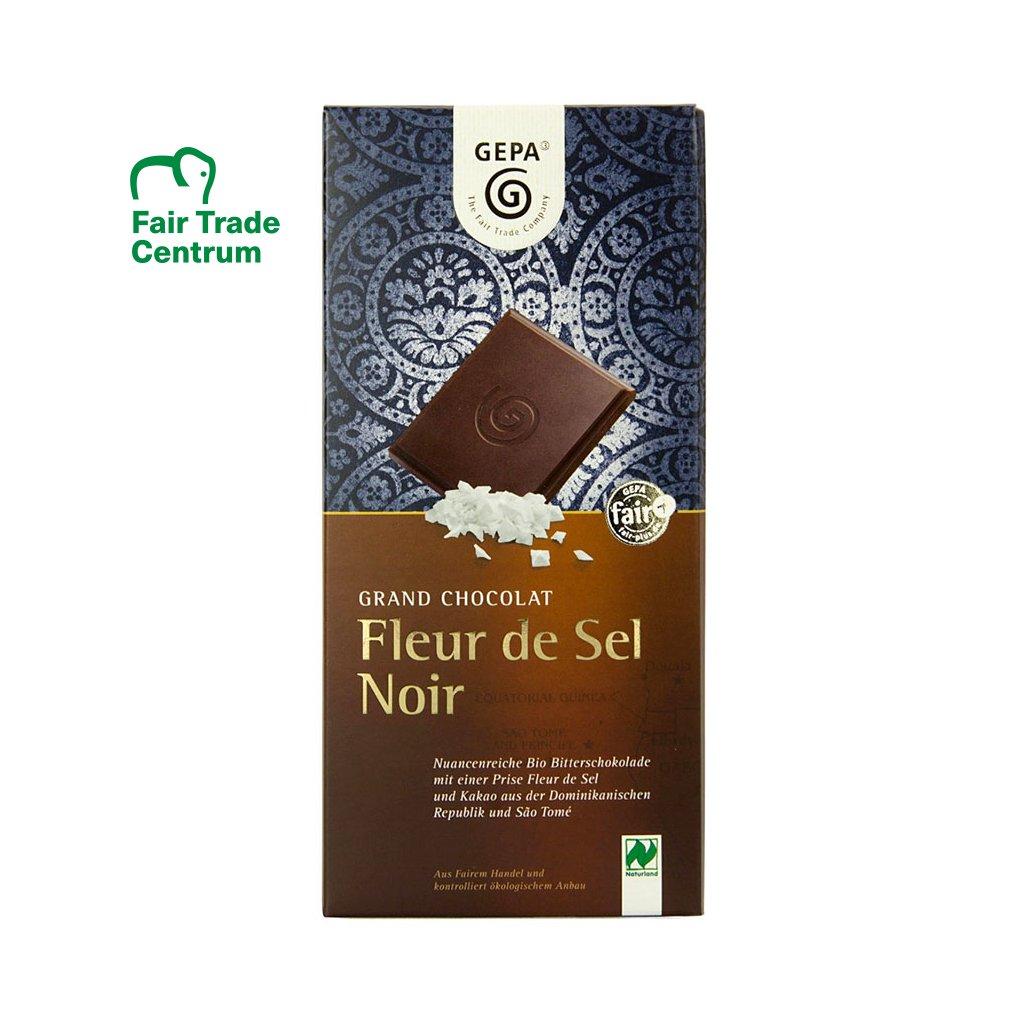 Fair Trade bio hořká čokoláda s květy soli Fleur de Sel, 100 g