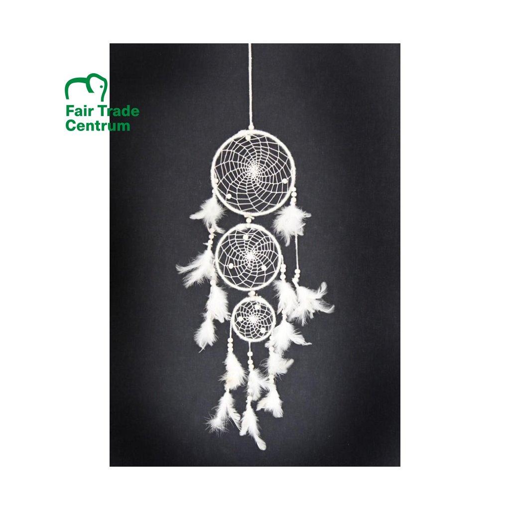 Fair trade bílý lapač snů z Nepálu, 46 cm