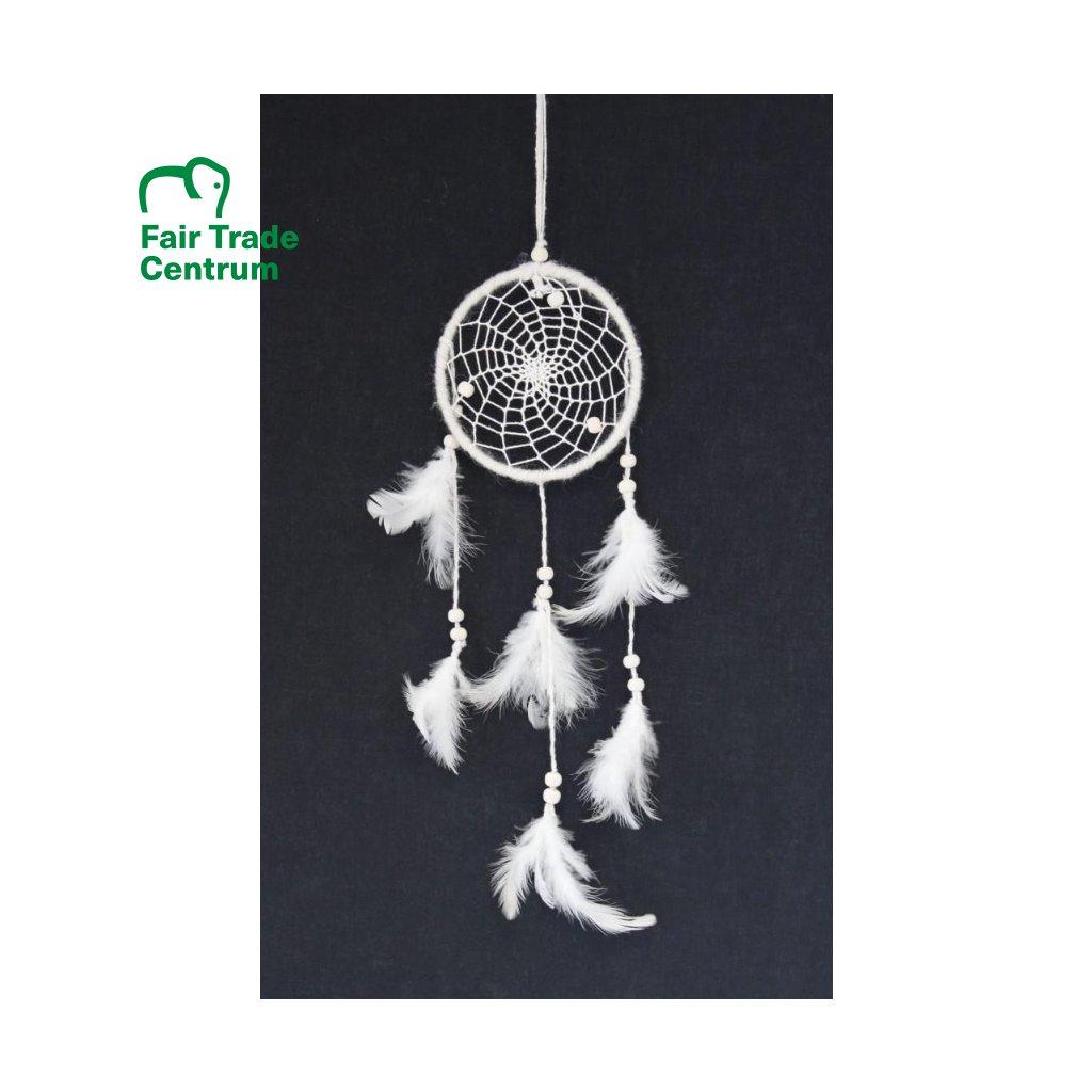Fair trade bílý lapač snů z Nepálu, 26 cm