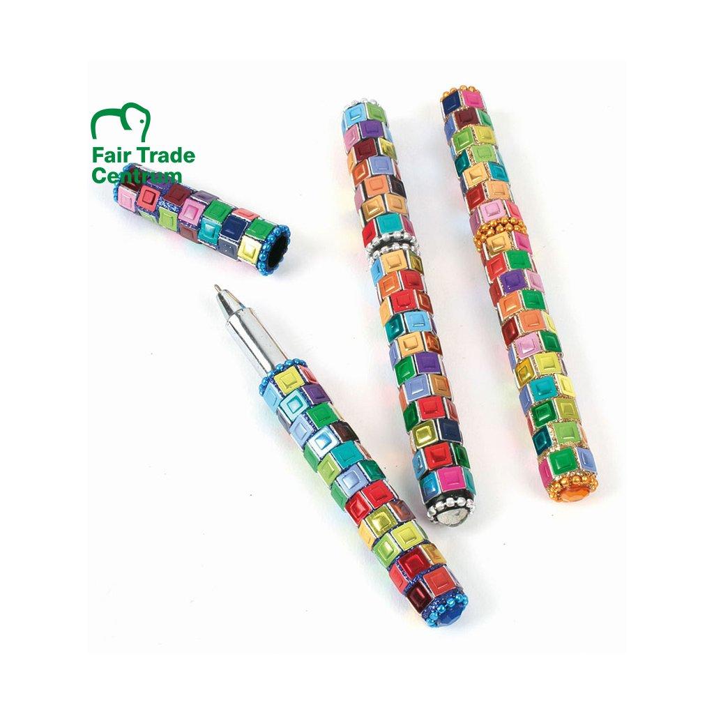 Fair trade mozaikové kuličkové pero z Indie