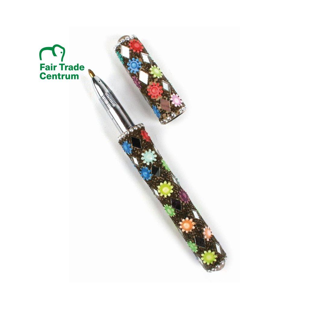 Fair trade kuličkové pero s kytičkami z Indie
