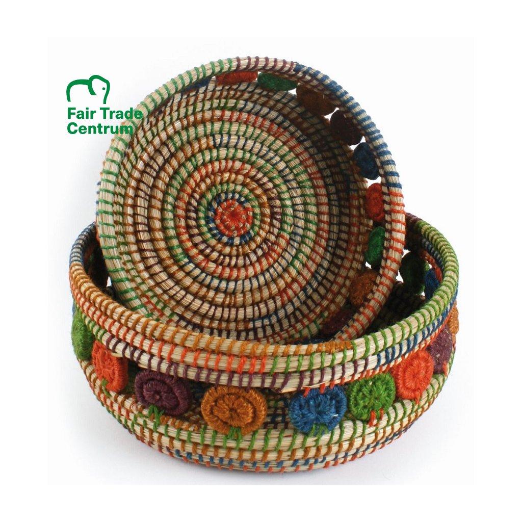 Fair Trade ručně dělaný proutěný košík s jutovými květy