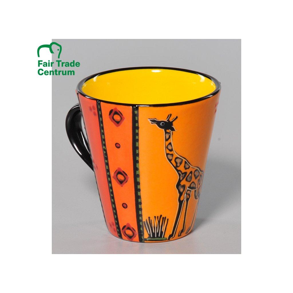 Fair trade hrnek s žirafou, oranžovo žlutý