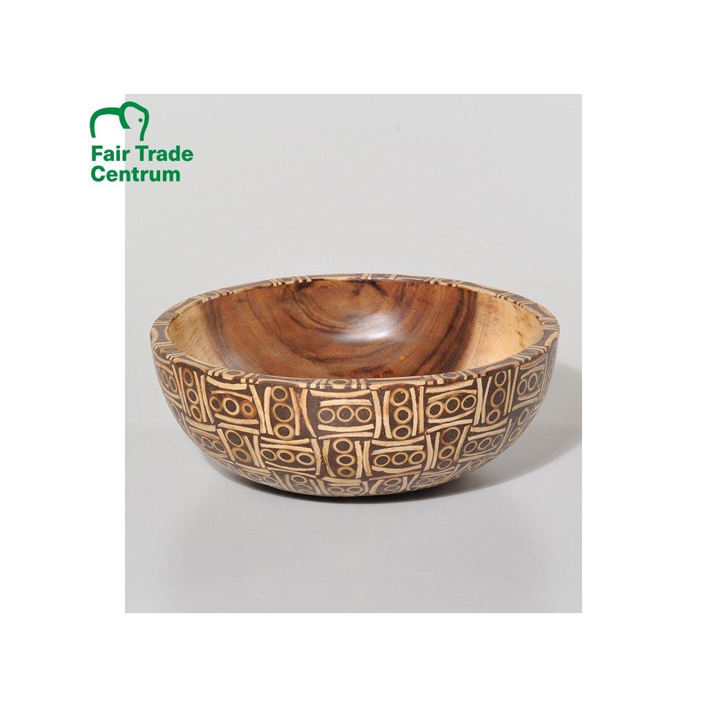 Fair trade dřevěná miska s bambusovou intarzií z Bali, 25 cm