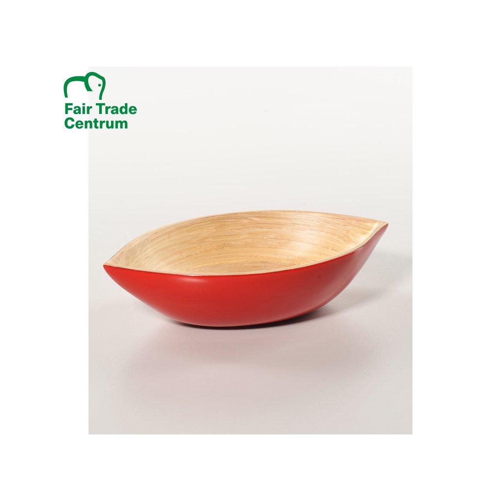 Fair trade červená bambusová miska z Vietnamu