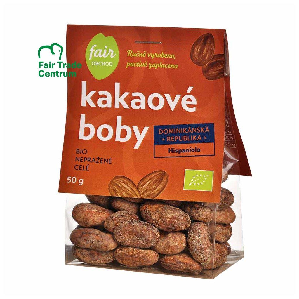 Fair trade bio nepražené kakaové boby Dominicana Hispaniola, 50 g