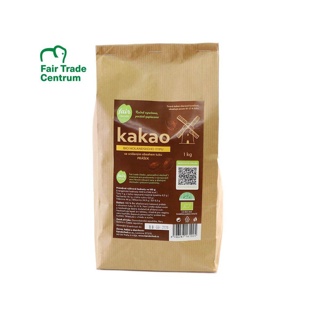 Fair trade bio kakaový prášek holandský snížený obsah tuku 1 kg