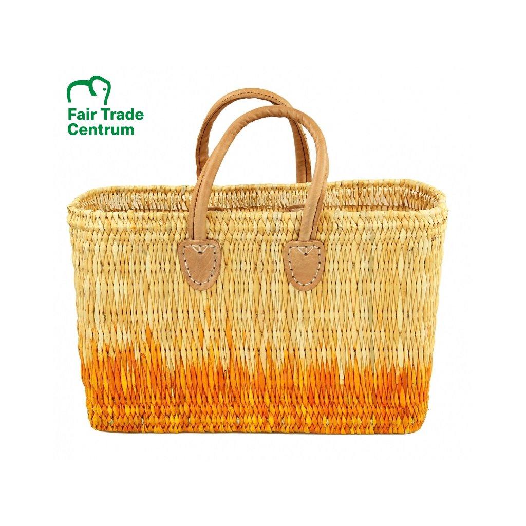 Fair trade proutěná taška z mořské trávy z Maroka, oranžový gradient
