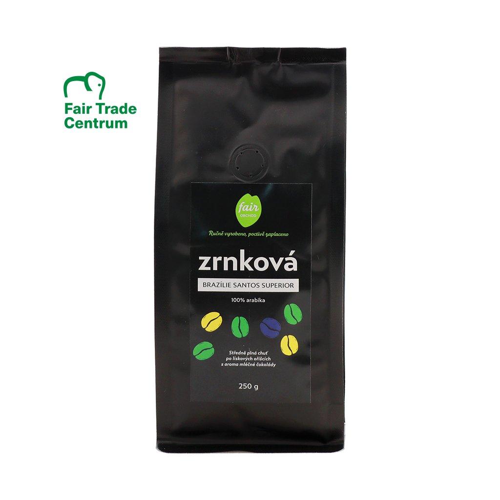 Fair trade zrnková káva Brazílie Santos Superior arabica, 250 g