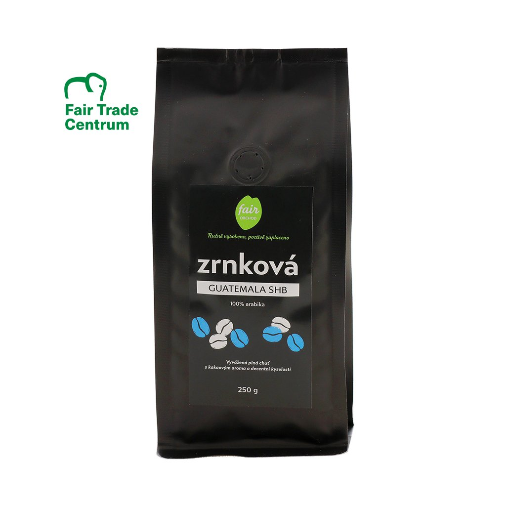 Fair trade zrnková káva Guatemala SHB arabica, 250 g
