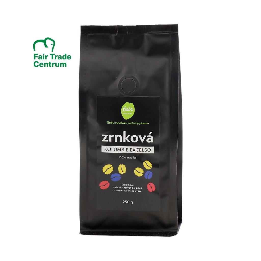 Fair trade zrnková káva Kolumbie Excelso arabica, 250 g