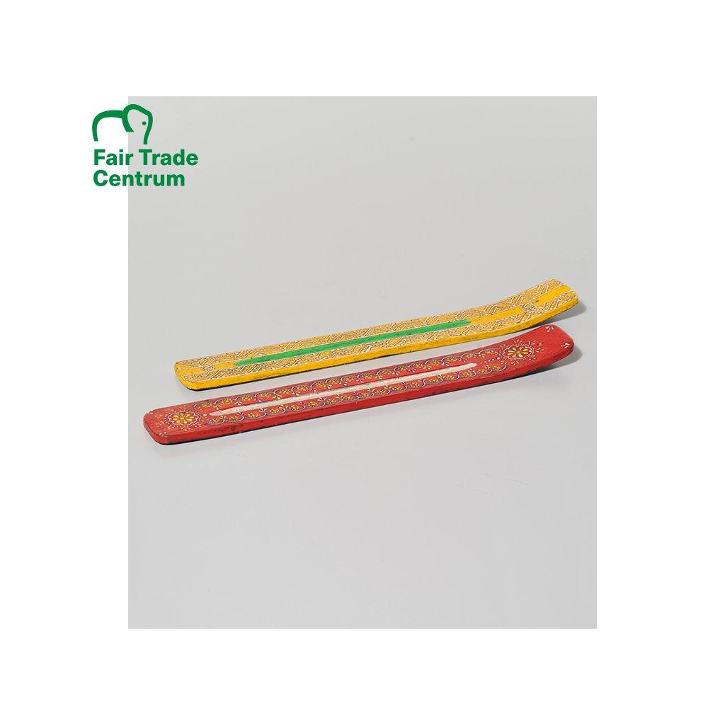 Stojánek na vonné tyčinky ze dřeva z Indie, červený